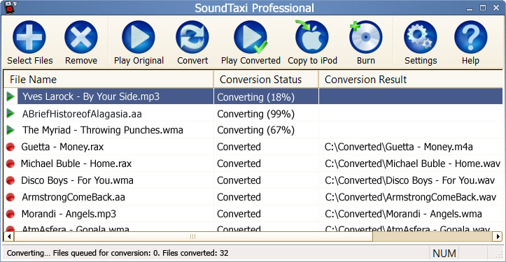 Convert DRM protected music files.