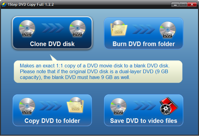 1Step DVD Copy - Startup Window